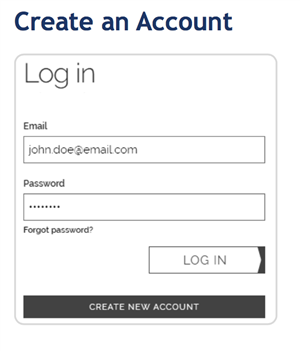Image of account creation page.