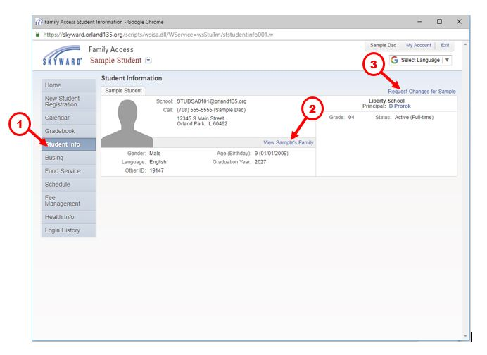 Image of Student Information Page