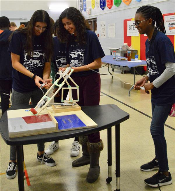 Students participating in the fluid power action challenge