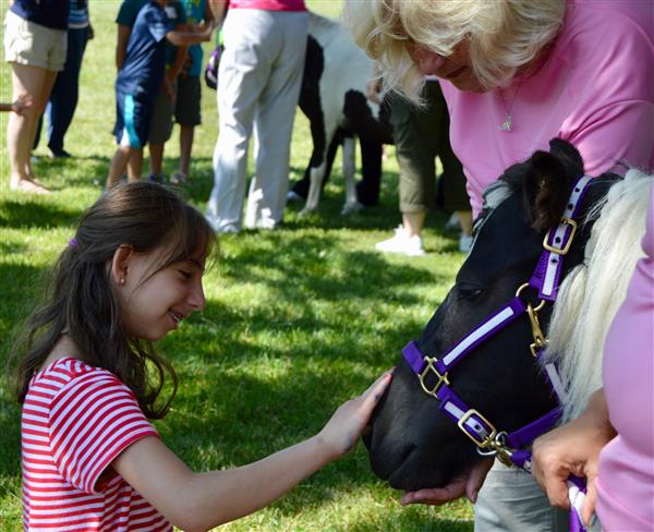 Female student pets a therapy horse at summer school