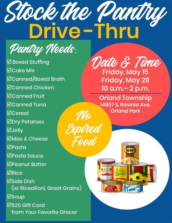 Advertisement for Stock the Pantry Drive-Thru event